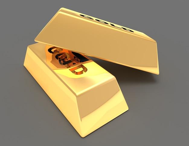 Koncepcja złotych sztabek .3d renderowana ilustracja