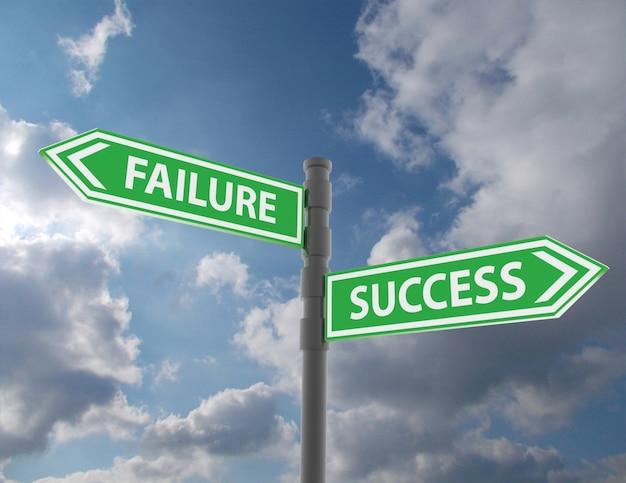 Koncepcja znaku drogowego ze słowami porażka i sukces