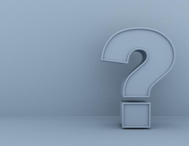 Koncepcja znaku zapytania. 3d renderowana ilustracja