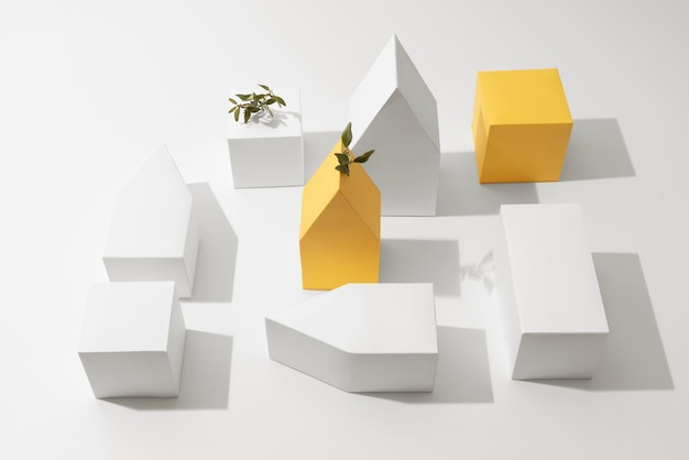 Koncepcja zrównoważonego rozwoju z geometrycznymi formami i rosnącą rośliną