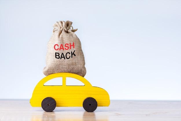 Koncepcja zwrotu gotówki lub zwrotu pieniędzy. żółty autko z workiem pieniędzy na szarym tle z miejscem na tekst.