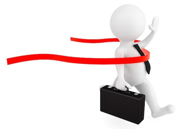 Koncepcja zwycięzcy. biznesmen 3d przekraczający linię mety na białym tle