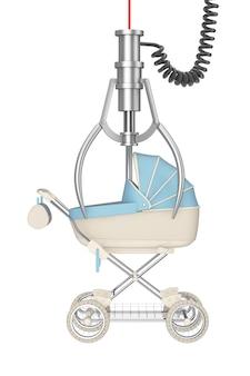Koncepcja zwycięzcy. nowoczesny wózek dziecięcy niebieski, wózek, wózek w chrome robotic claw na białym tle. renderowanie 3d