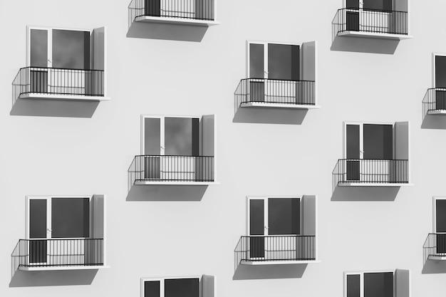 Koncepcja życia miejskiego. rzędy balkonów na ekstremalnym zbliżeniu nowoczesnego budynku. renderowanie 3d