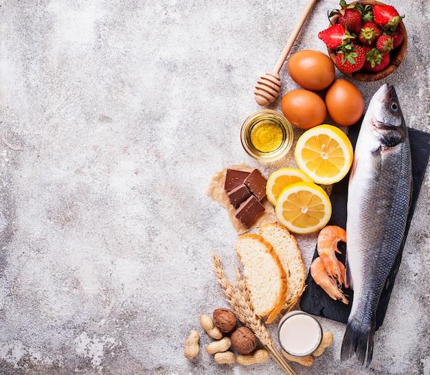Koncepcja żywności dla alergików. różne produkty alergiczne