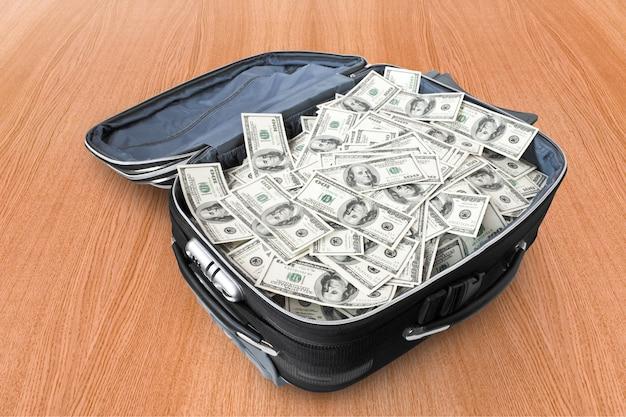 Koncepcje biznesowe. dużo pieniędzy w walizce