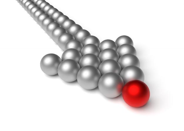 Koncepcje biznesowe lidera prowadzą zespół do przodu. strzała wykonana z kulek. przed nami czerwona kula