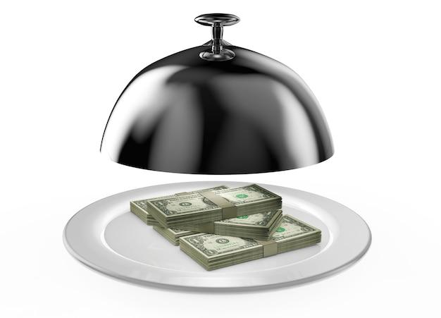 Koncepcje szybkich pieniędzy kredytowych pieniędzy stu dolarowych w restauracji cloche z otwartą pokrywą renderowania 3d
