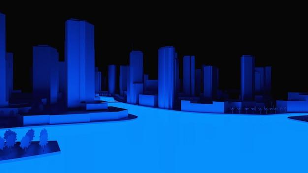 Koncepcyjna ilustracja 3d miasta noc z oświetleniem od świecącej wody. renderowania 3d.
