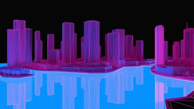 Koncepcyjna ilustracja 3d miasta w nocy z oświetleniem od świecącej wody. renderowania 3d.