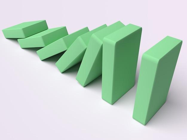 Koncepcyjna ilustracja spadających cegieł, które popychają się nawzajem
