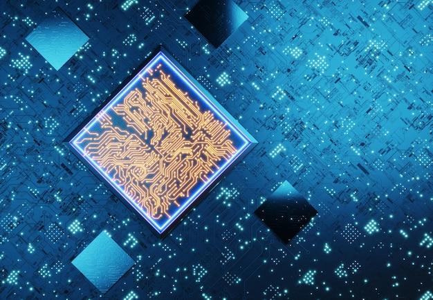 Koncepcyjna jednostka centralna. trening sieci neuronowych. koncepcja technologii blockchain. obliczenia kwantowe. koncepcja ai (sztucznej inteligencji), renderowanie 3d, abstrakcyjny obraz wizualny. renderowane w 3d