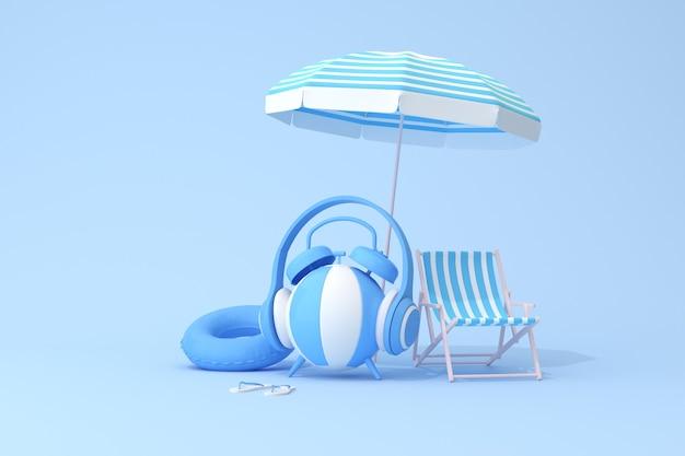 Koncepcyjna scena niebieski budzik ze słuchawkami na nadmuchiwanej piłce i krześle plażowym, renderowanie 3d.
