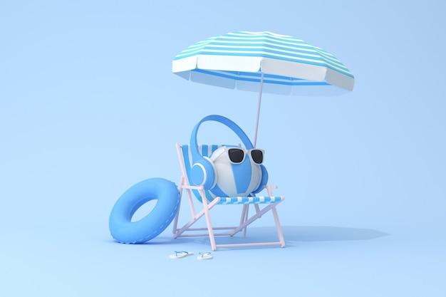 Koncepcyjna scena niebieskie słuchawki na nadmuchiwanej piłce i krześle plażowym, renderowania 3d.