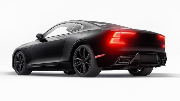 Koncepcyjne sportowe coupe premium. hybryda typu plug-in. technologie transportu ekologicznego. czarny samochód na białym tle. renderowania 3d.