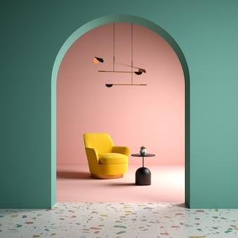 Koncepcyjne wnętrze pokoju w stylu memphis 3 d ilustracja