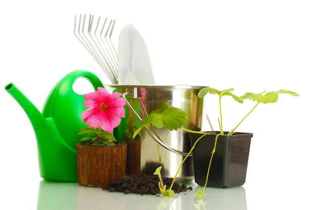 Konewka, wiadro, narzędzia i rośliny w doniczce na białym tle