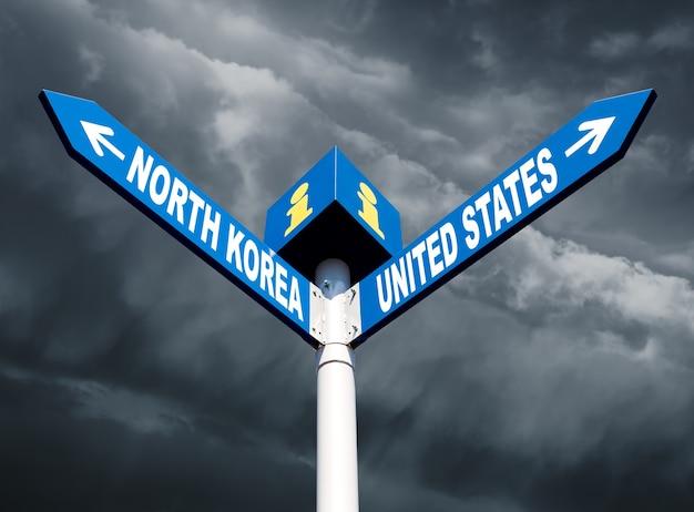 Konflikt między stanami zjednoczonymi a koreą północną. kierunkowe znaki drogowe