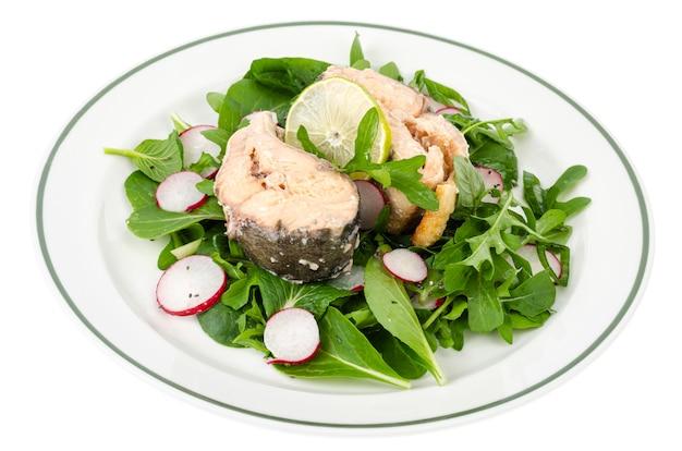 Konserwy rybne z zieleniną na talerzu na białym tle. studio photo