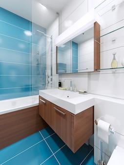 Konsola pod umywalkę w kolorze niebieskim w łazience z dużym lustrem z lampką
