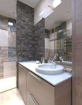 Konsola z umywalką w łazience w stylu minimalistycznym z białym akrylowym blatem.