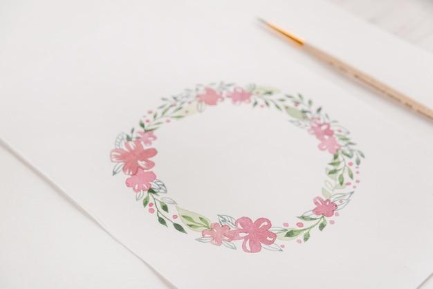 Konstrukcja ramy kwiaty malowane akwarelami na papierze