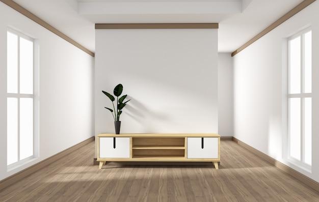 Konstrukcja szafki, nowoczesny salon z białą ścianą na białej drewnianej podłodze. 3d rendering