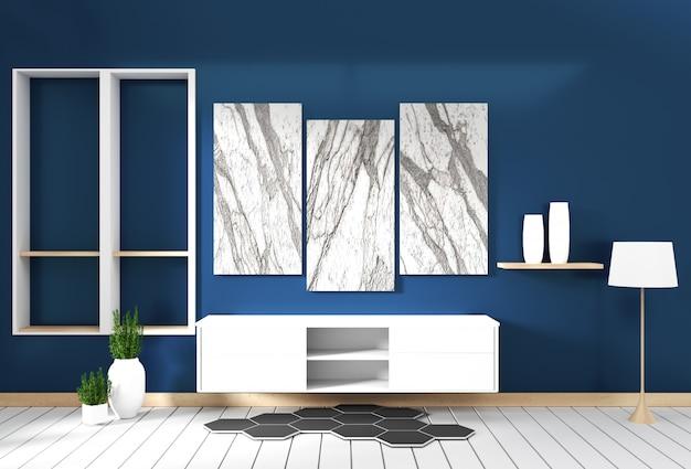 Konstrukcja szafki, nowoczesny salon z ciemnoniebieską ścianą na białej drewnianej podłodze. 3d rendering