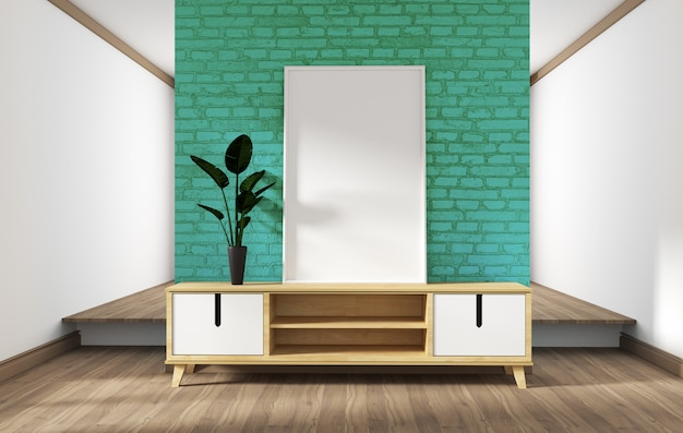 Konstrukcja szafki, nowoczesny salon z miętową ceglaną ścianą na białej drewnianej podłodze. 3d rendering