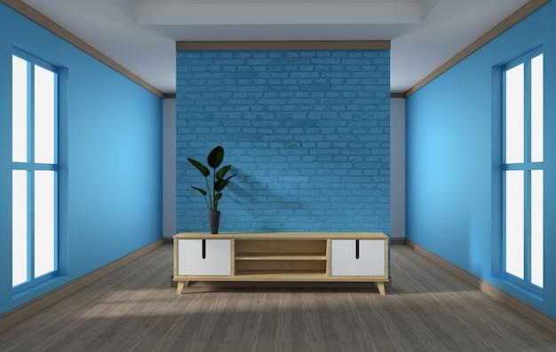 Konstrukcja szafki, nowoczesny salon z niebieskim murem na białej drewnianej podłodze. 3d rendering