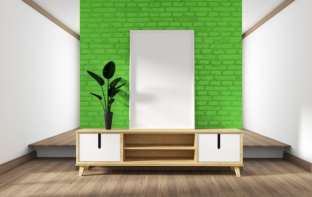 Konstrukcja szafki, nowoczesny salon z zielonym murem na białej drewnianej podłodze. 3d rendering