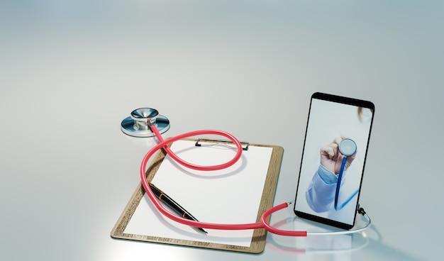 Konsultacja online i badanie lekarskie online lub koncepcja telemedycyny, renderowanie ilustracji 3d