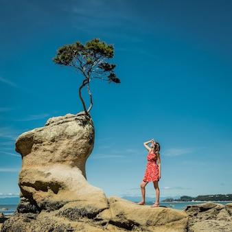 Kontemplacja. kobieta w naturze patrząca na małe drzewo