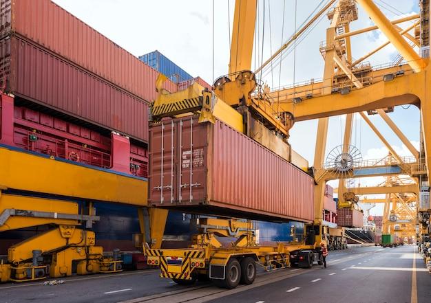 Kontenerowy statek towarowy z działającym dźwigiem załadunkowym w stoczni o zmierzchu dla logistic import export