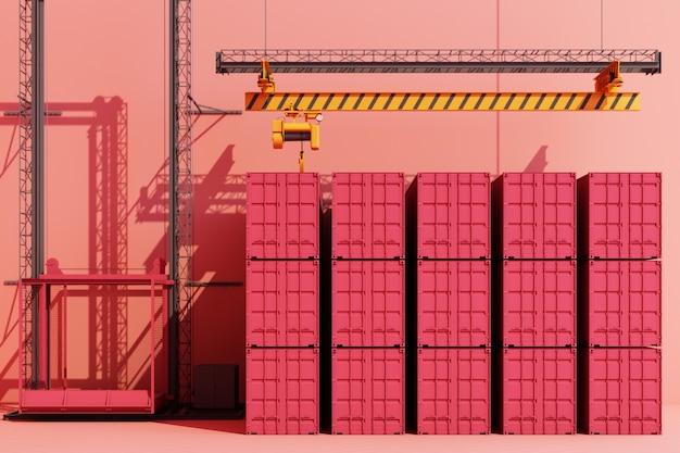 Kontenery transportowe zawieszone na dźwigu. 3d globalny biznes koncepcja handlu różowy kolor. renderowanie 3d