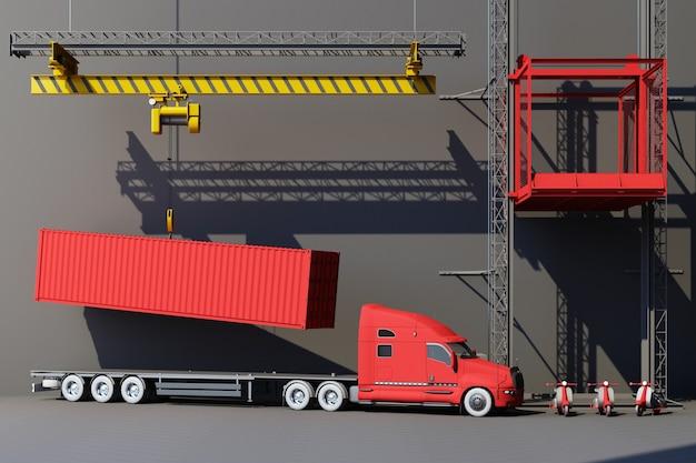 Kontenery transportowe zawieszone na dźwigu z przyczepą i skuterem. 3d globalny biznes koncepcja handlu. renderowanie 3d