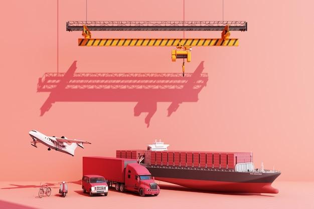 Kontenery transportowe zawieszone na dźwigu z przyczepą i skuterem, rower i furgonetka. 3d globalny biznes koncepcja handlu. renderowanie 3d