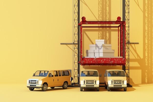 Kontenery transportowe zwisające z furgonetki z dźwigiem. 3d globalny biznes koncepcja handlu. renderowanie 3d
