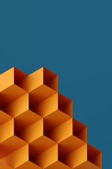 Kontrastująca kolorowa geometryczna abstrakcyjna kompozycja d ilustracja trójwymiarowej postaci na czarno...
