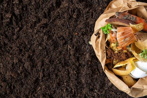 Kontrola środowiska. sortowanie odpadów żywnościowych w opakowaniach środowiskowych.