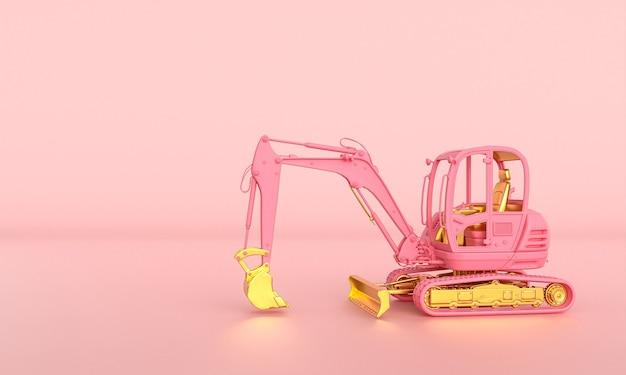 Koparka różowo-złota na różowym tle. renderowania 3d.