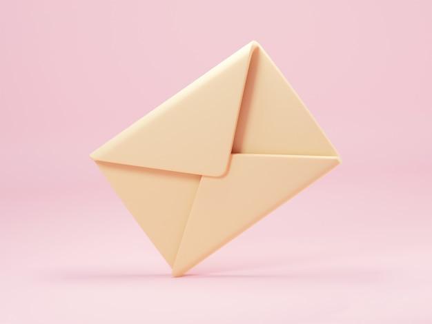 Koperta pocztowa na białym tle na pastelowym różowym tle