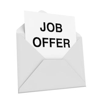 Koperta z listem z ofertą pracy na białym tle. renderowanie 3d