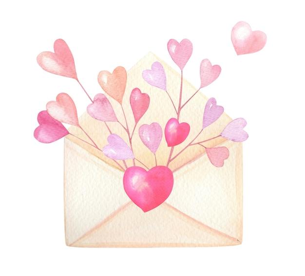 Koperta z różowe, czerwone serca na białym tle. karta na walentynki.