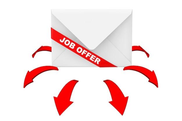 Koperta ze znakiem wstążki oferty pracy i świecące czerwone strzałki kierunku na białym tle. renderowanie 3d