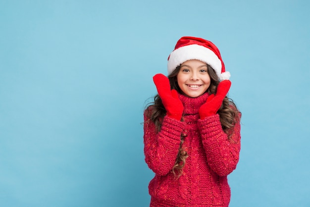 Kopiowanie miejsca buźkę w zimowe ubrania
