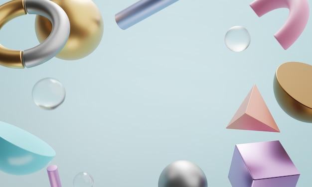 Kopiowanie miejsca jasnoniebieskie tło. geometryczny kształt sztuki minimalnego renderowania 3d