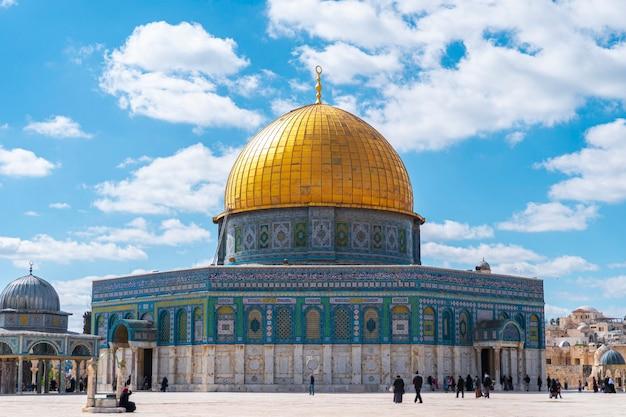 Kopuła na skale meczet al-aksa, stare miasto w jerozolimie, palestyna