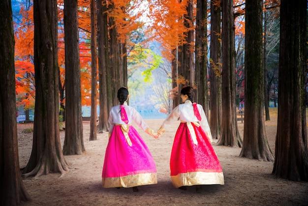 Koreański dziewczyna spaceru w parku nami na wyspie nami