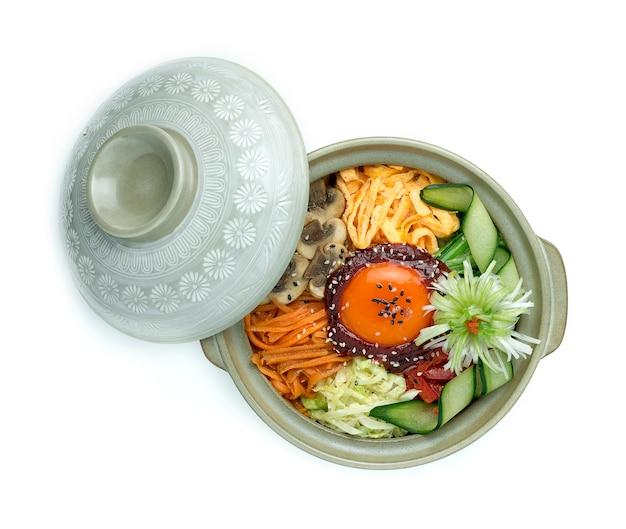 Koreańskie warzywa mieszane z ryżem bibimbub